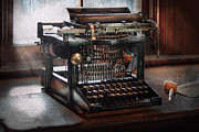 Antique Table Framed Prints - Steampunk - Typewriter - A really old typewriter  Framed Print by Mike Savad