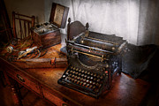 Writers Prints - Steampunk - Typewriter - The secret messenger  Print by Mike Savad