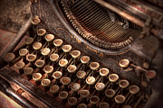 Keys Metal Prints - Steampunk - Typewriter - Too tuckered to type Metal Print by Mike Savad
