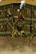 Machinery Digital Art Framed Prints - Steampunk Vandal Framed Print by Liam Liberty