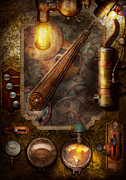 Lamps Prints - Steampunk - Victorian fuse box Print by Mike Savad