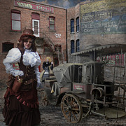 Old Town Digital Art Prints - Steampunk Welcome to the Oasis in Wallace Idaho Print by Jeff Burgess