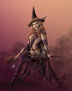 Rob Carlos Posters - Steampunk Witch Poster by Rob Carlos