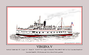 Roman Numeral Framed Prints - Steamship Virginia V Launch Poster Framed Print by Jack Pumphrey