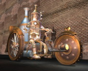 Engine. Bike Prints - Steamtrike and Rider Print by Stuart Swartz
