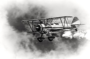 Stearman Prints - Stearman Biplane Black and White Print by Jerry Fornarotto