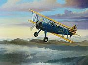 Clouds Painting Framed Prints - Stearman Biplane Framed Print by Stuart Swartz