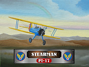 Airplane Radial Engine Posters - Stearman PT-17 Poster by Stuart Swartz