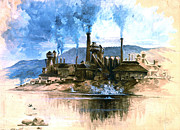 Companies Prints - Steel Foundry 1881 Print by Padre Art