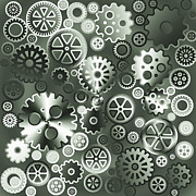 Mechanism Digital Art Prints - Steel gears Print by Gaspar Avila