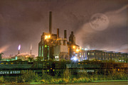 Manufacturing Framed Prints - Steel Mill at Night Framed Print by Juli Scalzi