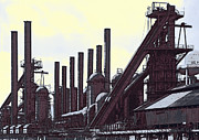 Molten Metal Framed Prints - Steel Mill Blast Furnaces Framed Print by Daniel Hagerman