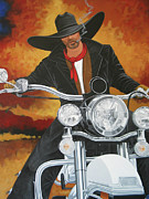 Motorcycle Cowboy Prints - Steel Pony Print by Lance Headlee
