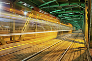 Tram Prints - Steel Truss Bridge with Tram Light Trail Print by Artur Bogacki