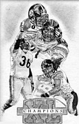 Champions Drawings Framed Prints - Steelers Champions Framed Print by Jonathan Tooley
