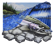 Drawing Drawings - Steelhead Dreams by Nick Laferriere