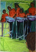 People Pastels Framed Prints - Steelpan in Chaguaramas Framed Print by Nadira Karim