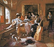 Music Time Posters - Steen, Jan 1626-1679. The Family Poster by Everett