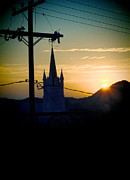 Telephone Wires Framed Prints - Steeple and Power Lines Sunrise Framed Print by Jill Battaglia