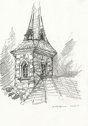 Worship God Drawings - Steeple by Michael Shegrud