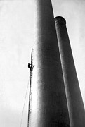 Chimneys Posters - Steeplejack Ascends Tower Poster by Underwood Archives