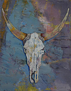 Desert Wildlife Paintings - Steer Skull by Michael Creese