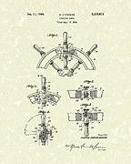 Wheel Drawings Metal Prints - Steering Wheel 1944 Patent Art Metal Print by Prior Art Design