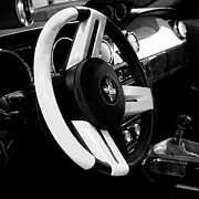 Monochrome Hot Rod Prints - Steering Wheel BW Print by Jenny Hudson