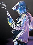 Bass Player Drawings Posters - Stefan Lessard Colorful Full Band Series Poster by Joshua Morton