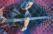 Bass Player Drawings Posters - Stefan Lessard Pop-Op Series Poster by Joshua Morton