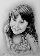 Little Girl Drawings Prints - Stefanie Print by Andrew Read