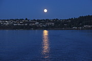 Reflection Harvest Posters - Steilacoom Moonrise Poster by Sean Griffin