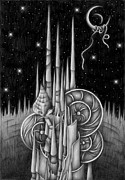 Stellar Drawings Posters - Stellar tower Poster by T Koni
