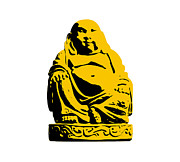 India Metal Prints - Stencil Buddha Yellow Metal Print by Pixel Chimp