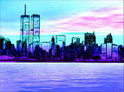 Twin Towers Trade Center Digital Art Metal Prints - Step Back in Time Manhattan Metal Print by Daniel Janda