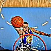 Slam Dunk Metal Prints - Steph Curry Metal Print by Florian Rodarte