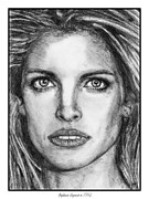 Closeups Drawings Posters - Stephanie Seymour in 1992 Poster by J McCombie