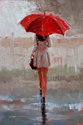 Umbrella Painting Posters - Stepping Out Poster by Laura Lee Zanghetti