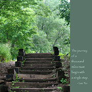 Wooden Stairs Photo Prints - Steps and Lao Tzu Quote Print by Heidi Hermes