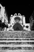 Front Steps Prints - Steps Leading Up To Facade Of Tarragona Cathedral Catalonia Spain Print by Joe Fox