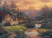 Kinkade Painting Posters - Steps off the Appalachian Trail Poster by Chuck Pinson