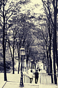 Vintage Lamp Photos - Steps on Montmartre Hill by Ivy Ho