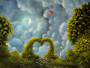 Moon Paintings - Steps To Love. Fantasy Landscape Fairytale Art By Philippe Fernandez  by Philippe Fernandez
