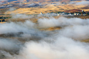 Rolling Hills Prints - Steptoe Fog Clearing Print by Mike  Dawson