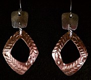 Stamped Jewelry - Sterling Copper Leaf Stamped Earrings by Dyan  Johnson