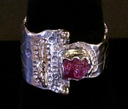 Stamped Jewelry - Sterling Silver 14k Gold Pink Tourmaline Ring by Dyan  Johnson