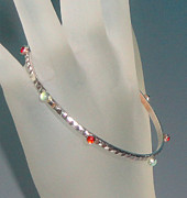Featured Jewelry - Sterling Silver Bangle with Gems by Robin Copper