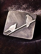 Wire Jewelry - Sterling Silver Birds by Patricia  Tierney