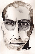 Watercolor Mixed Media Originals - Steve Jobs as The Innovator by Mark M  Mellon