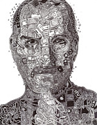 Wires Drawings Prints - Steve Jobs Print by Serafin Ureno